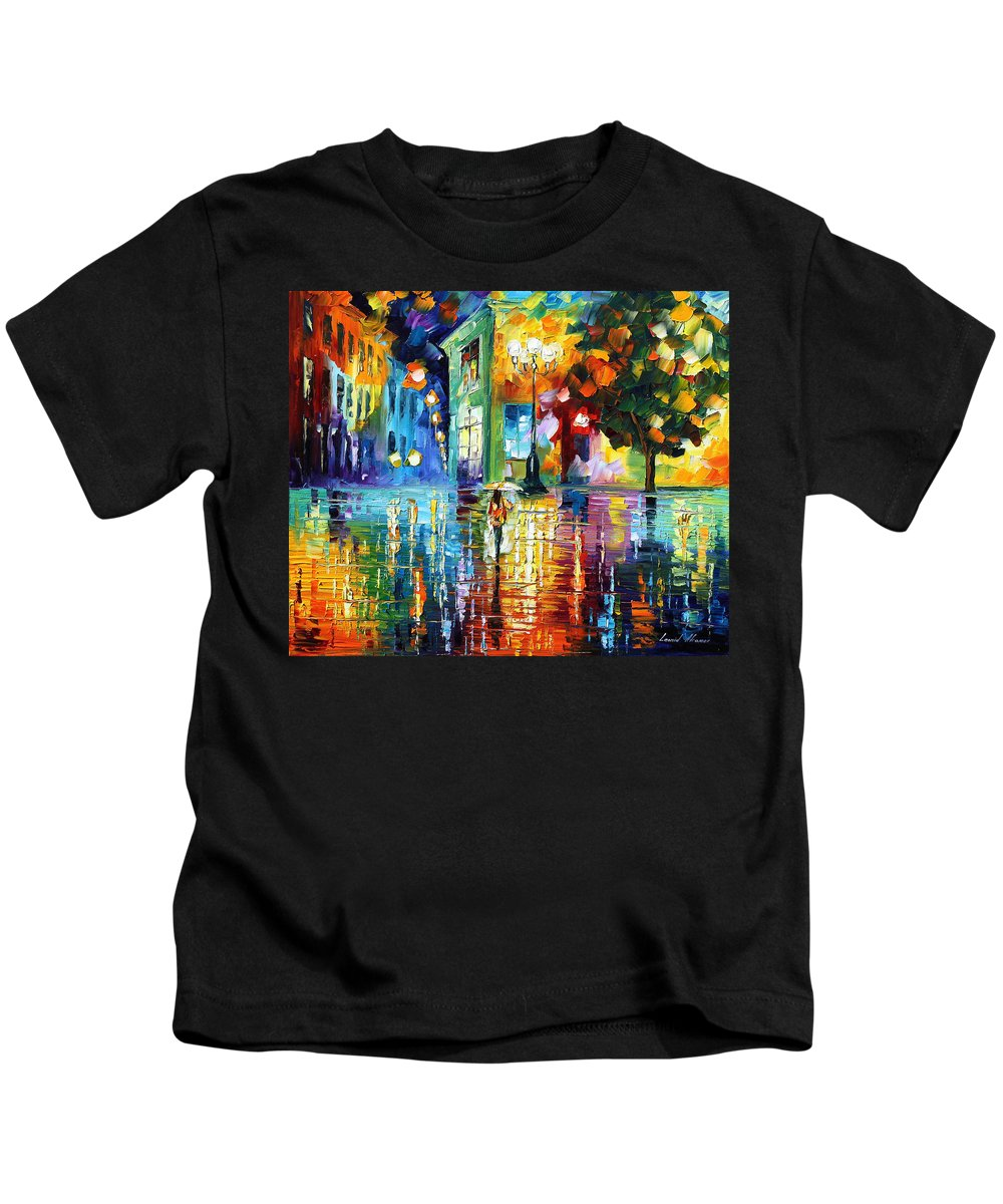 City Kids T-Shirt featuring the painting Psychedelic City by Leonid Afremov