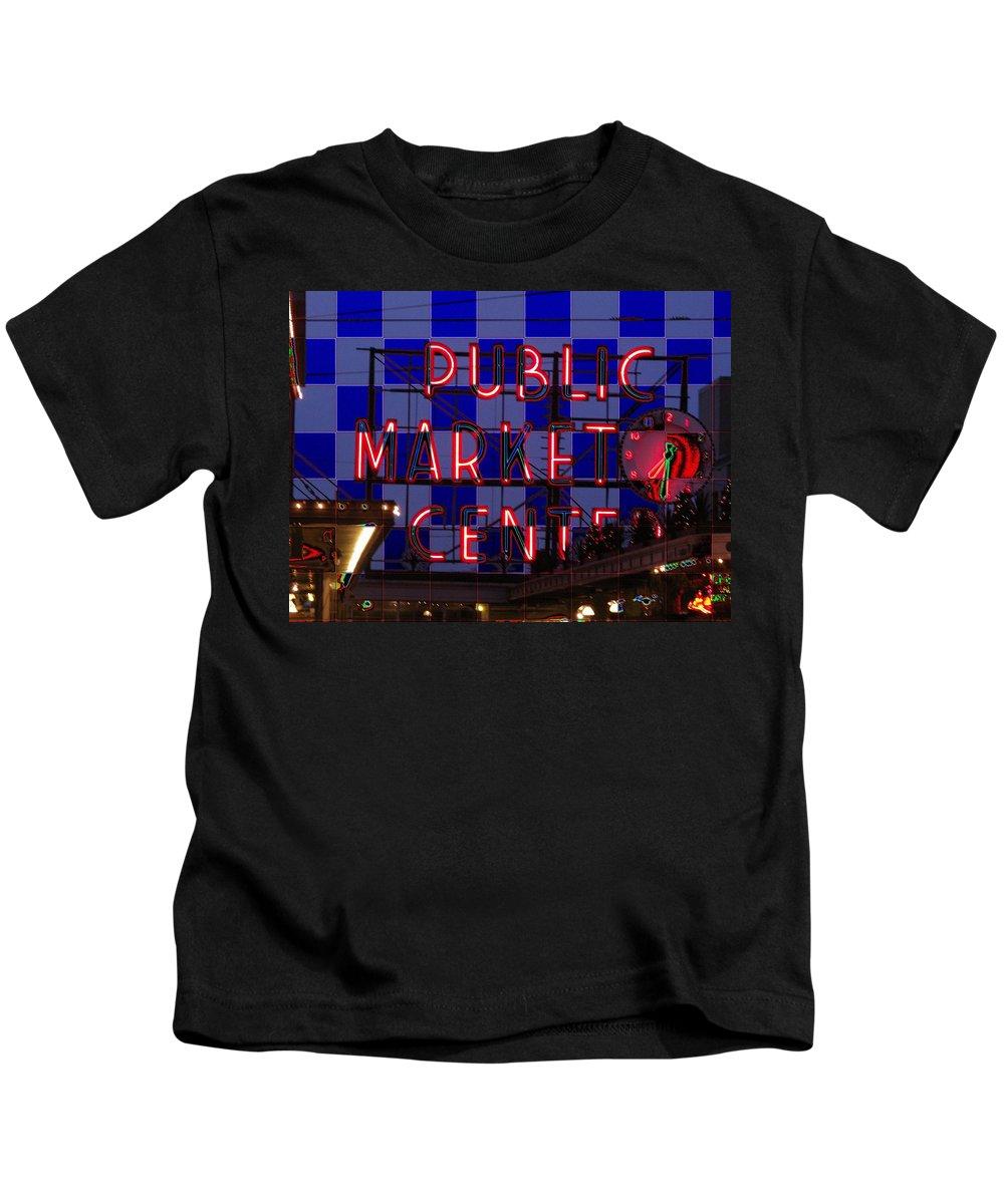 Seattle Kids T-Shirt featuring the digital art Public Market Checkerboard by Tim Allen