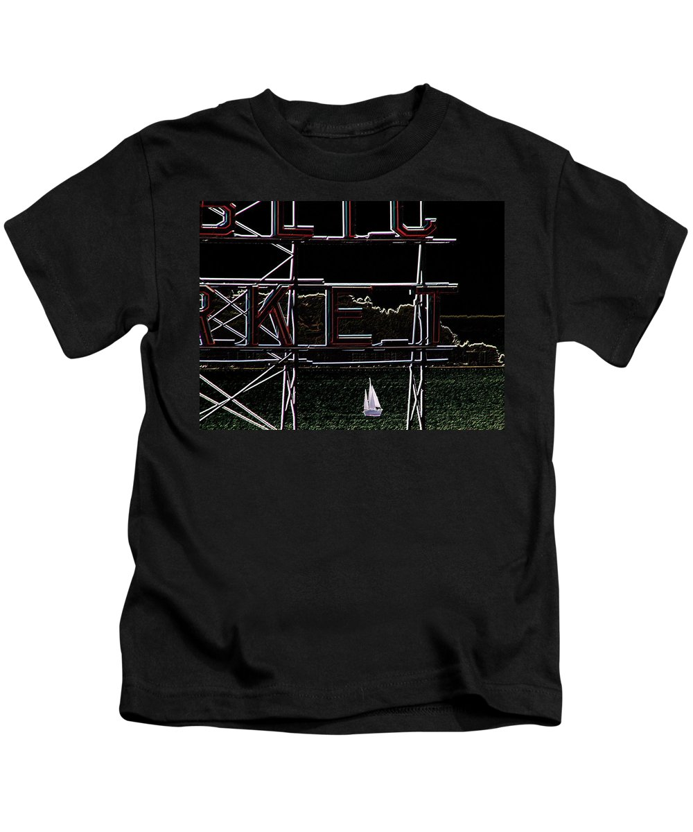 Seattle Kids T-Shirt featuring the photograph Public Market Sail by Tim Allen