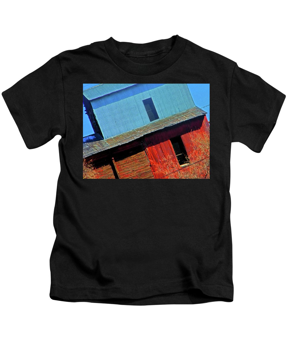 Abstract Kids T-Shirt featuring the digital art Pueblo Downtown--sweenys Feed Mill by Lenore Senior