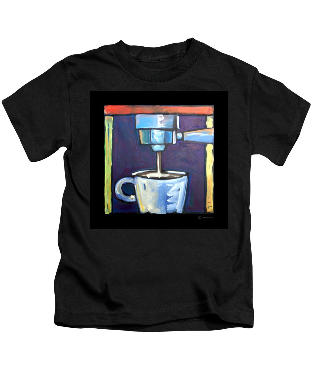 Coffee Kids T-Shirt featuring the painting Pulling A Shot by Tim Nyberg