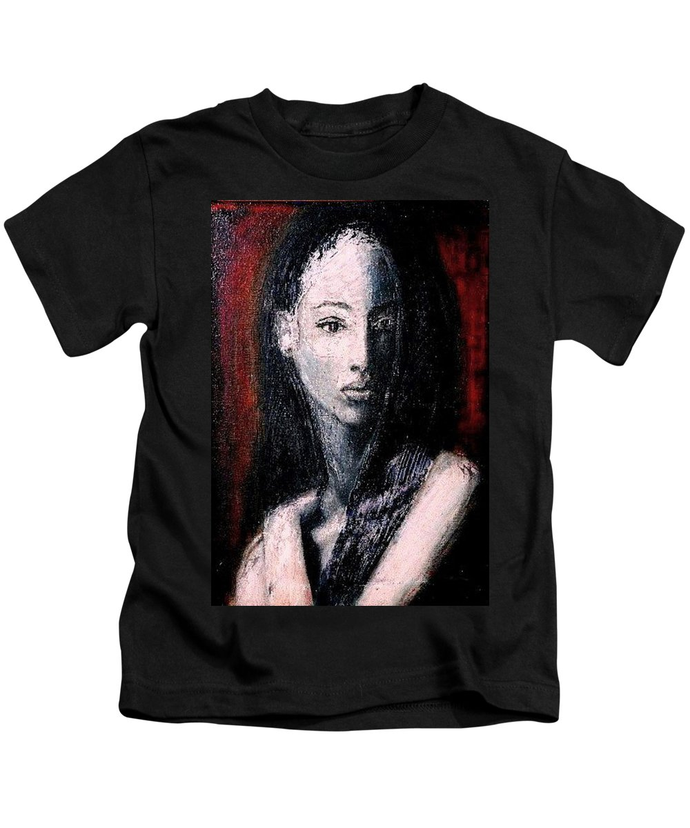 Portrait Art Kids T-Shirt featuring the painting Pulsar by Jarmo Korhonen aka Jarko