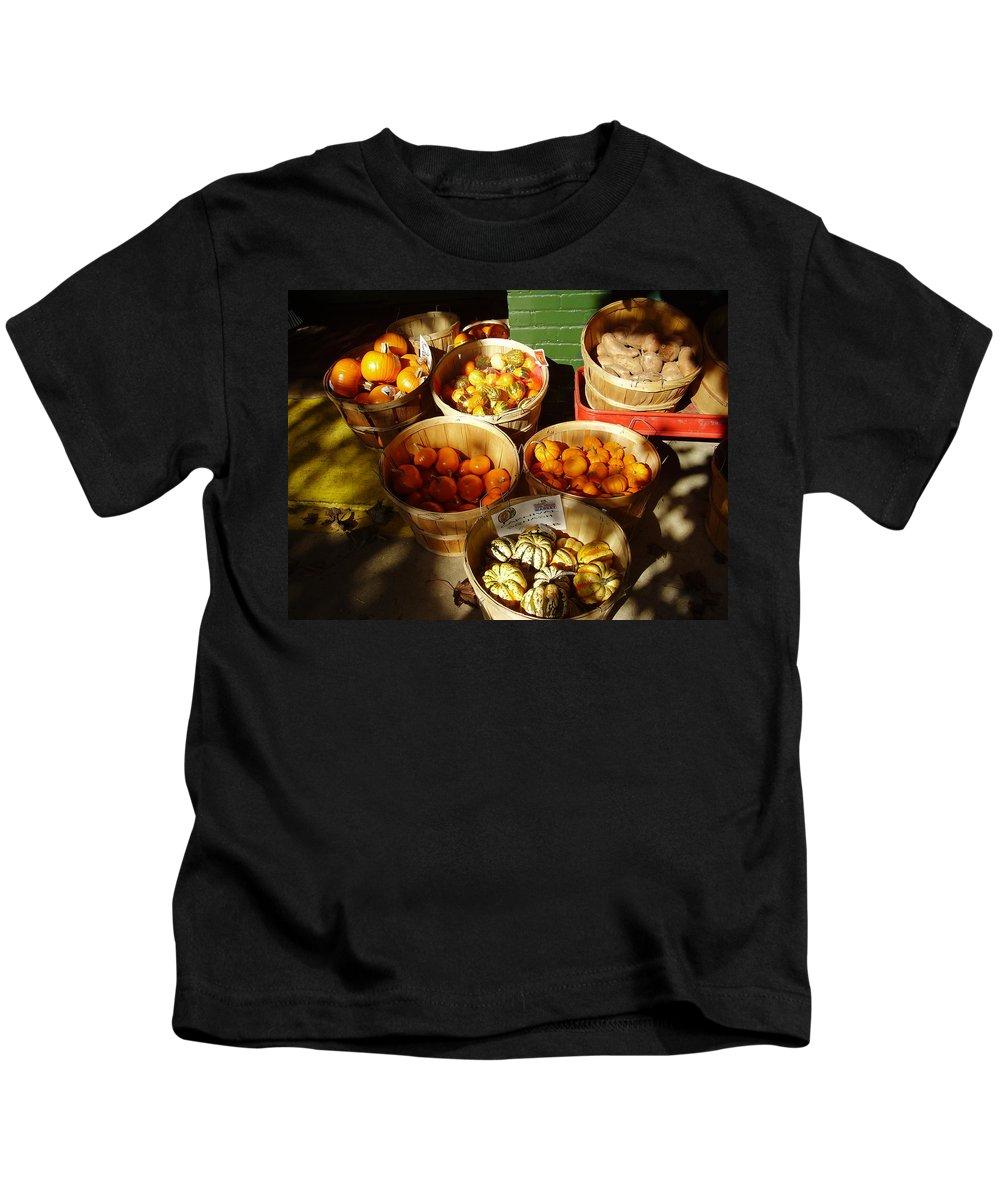 Pumpkins Kids T-Shirt featuring the photograph Pumpkins by Flavia Westerwelle
