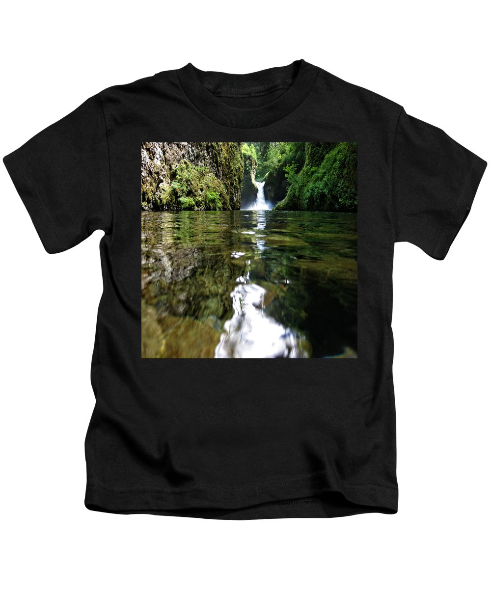 Columbia Gorge Kids T-Shirt featuring the photograph Punchball Falls by Ingrid Smith-Johnsen