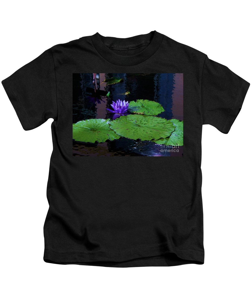 Photograph Kids T-Shirt featuring the photograph Purple Blue Lily by Eric Schiabor