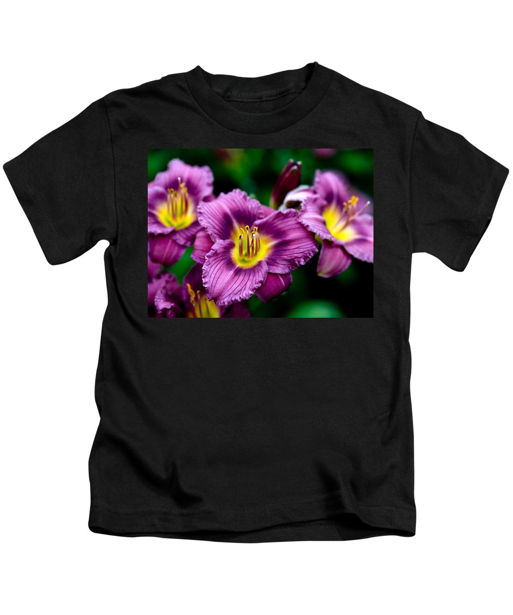 Flower Kids T-Shirt featuring the photograph Purple Day Lillies by Marilyn Hunt