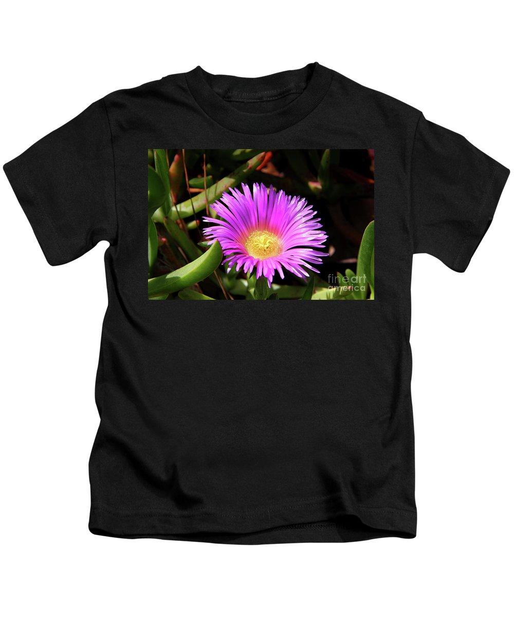 Purple Kids T-Shirt featuring the photograph Purple Flower On California Coast by Mariola Bitner