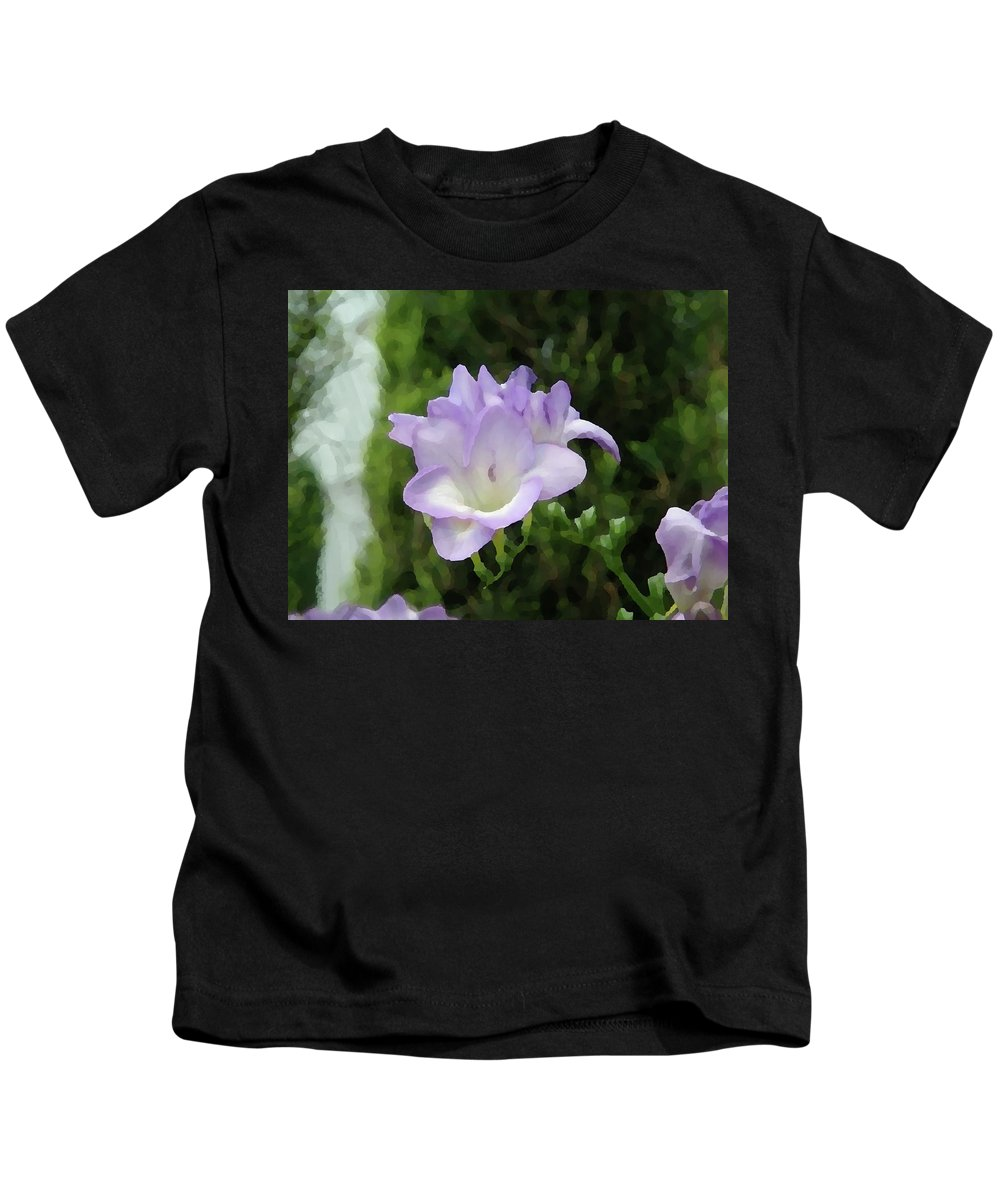 Floral Kids T-Shirt featuring the photograph Purple Flower Painting by Alice Markham