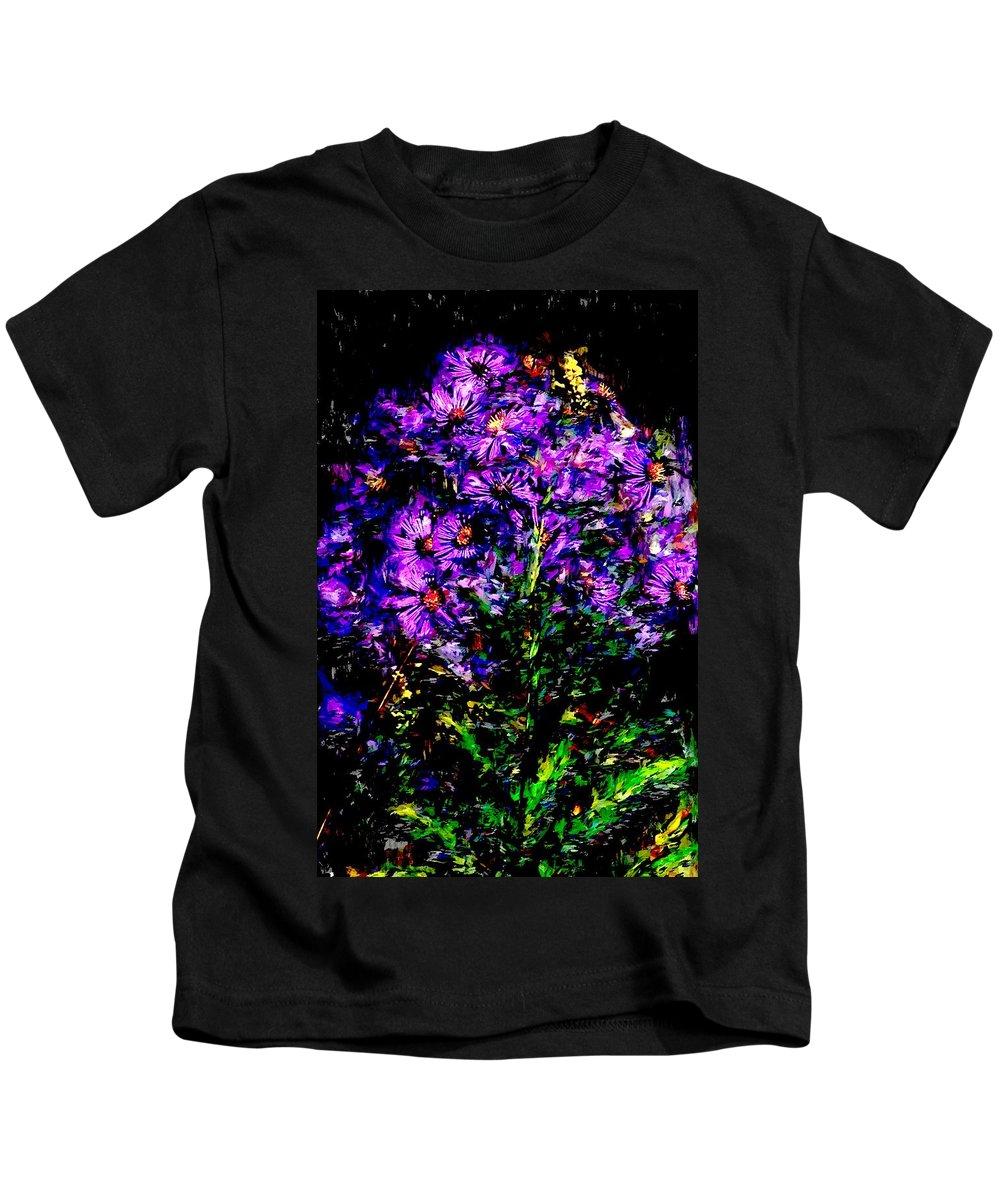 Digital Photograph Kids T-Shirt featuring the photograph Purple Flower Still Life by David Lane