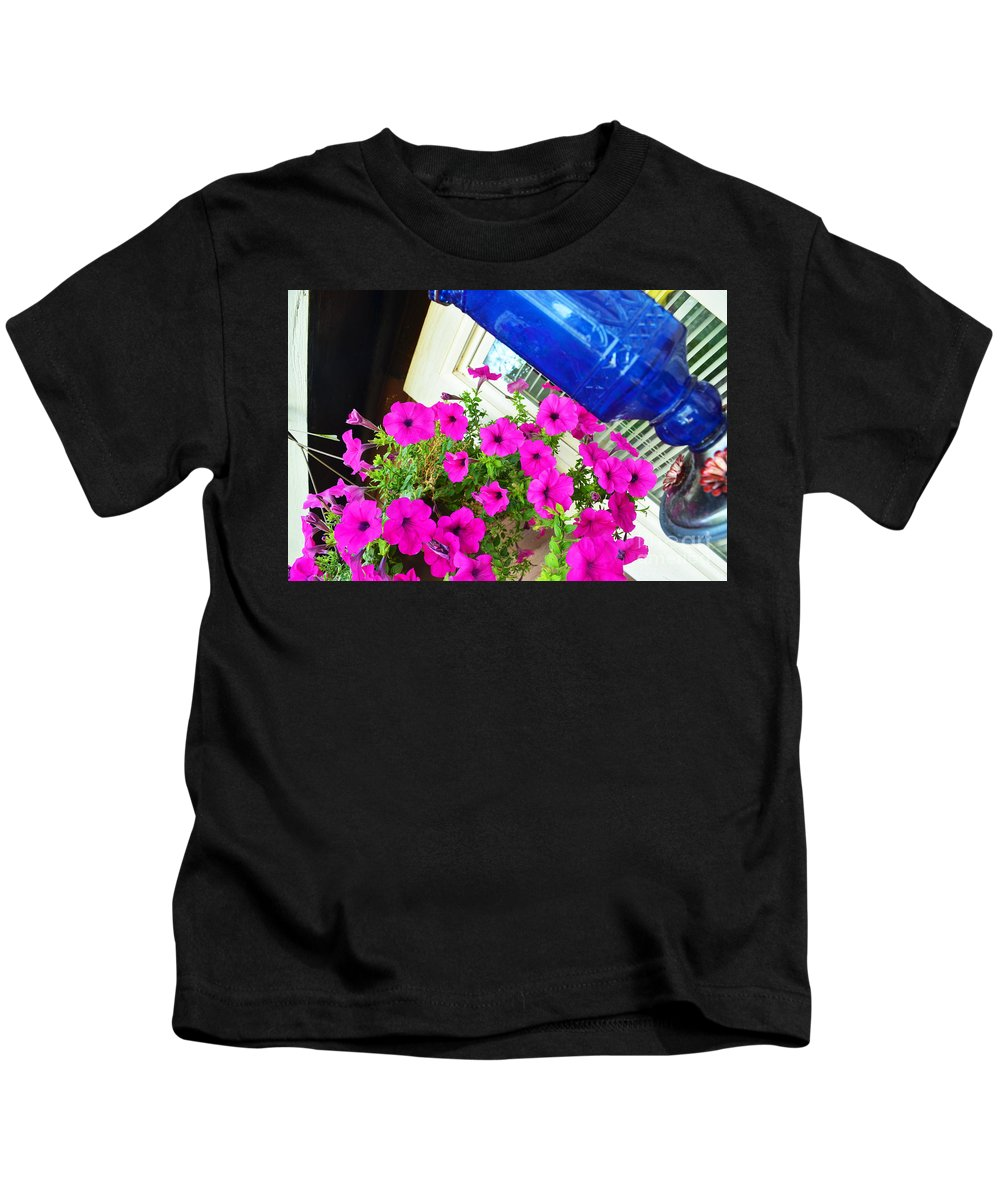 Flowers Kids T-Shirt featuring the photograph Purple Flowers On White Window 2 by Korynn Neil