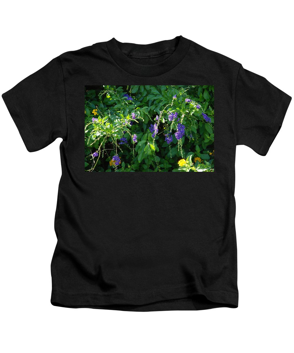 Floral Kids T-Shirt featuring the photograph Purple Hanging Flowers by Rob Hans