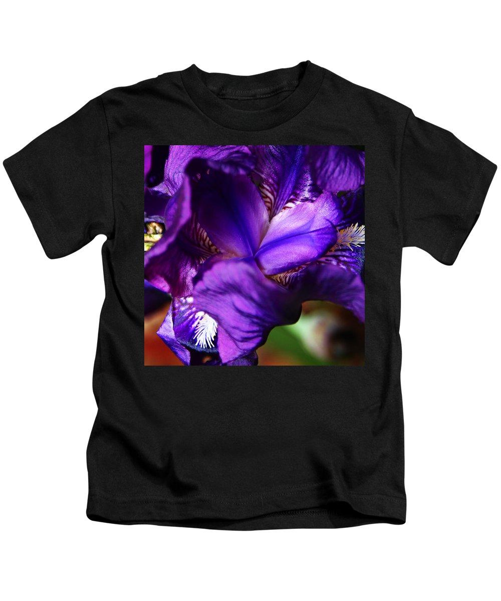 Kids T-Shirt featuring the photograph Purple Iris by Anthony Jones