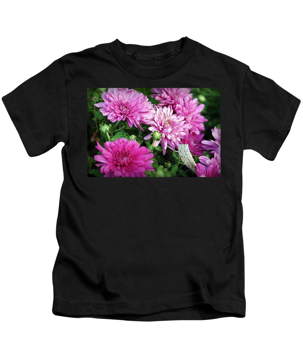 Flowers Kids T-Shirt featuring the photograph Purple Mums by Cricket Hackmann