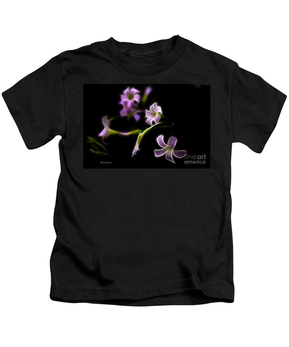 Fractalius Kids T-Shirt featuring the photograph Purple On Black by Deborah Benoit