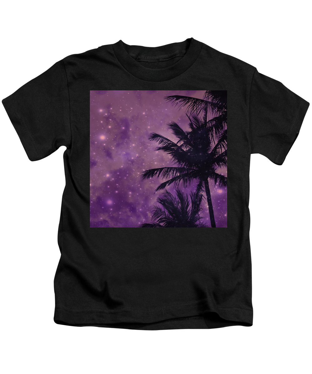 Purple Sky Palm Kids T-Shirt featuring the photograph Purple Sky Palm by UMe images