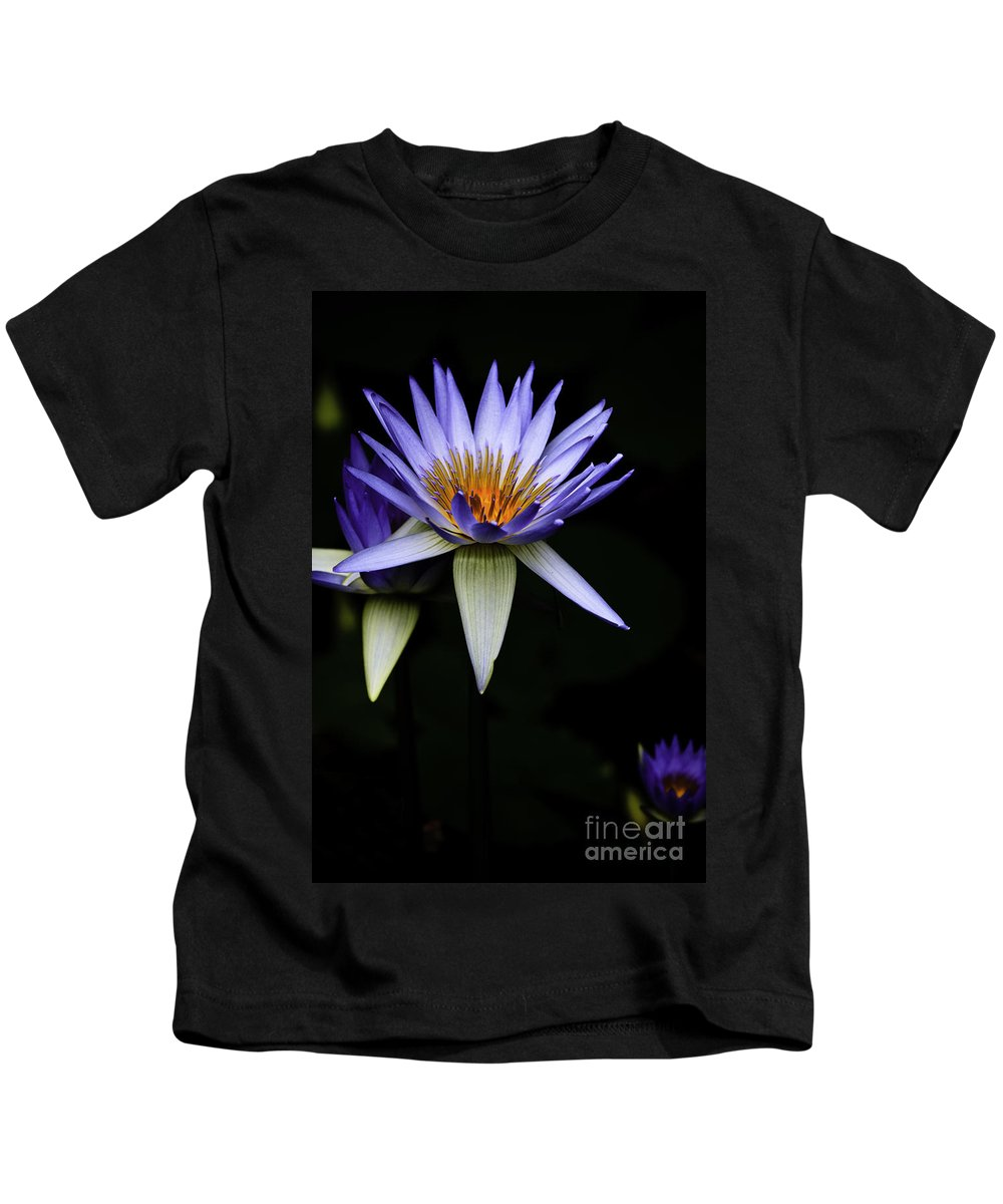 Purple Waterlily Water Lily Flower Flora Kids T-Shirt featuring the photograph Purple Waterlily by Sheila Smart Fine Art Photography