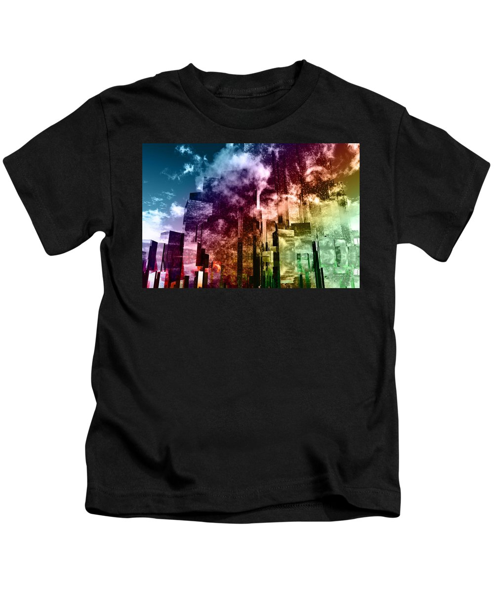 Abstractly Kids T-Shirt featuring the digital art Q-city Three by Max Steinwald