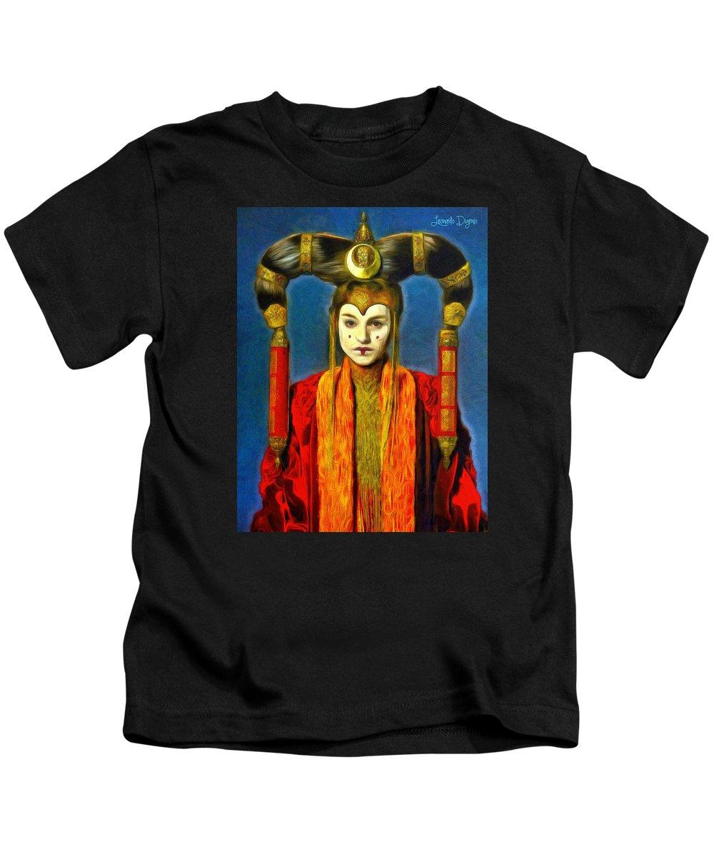 Star Wars 7 Kids T-Shirt featuring the painting Queen Amidala Senate Costume by Leonardo Digenio