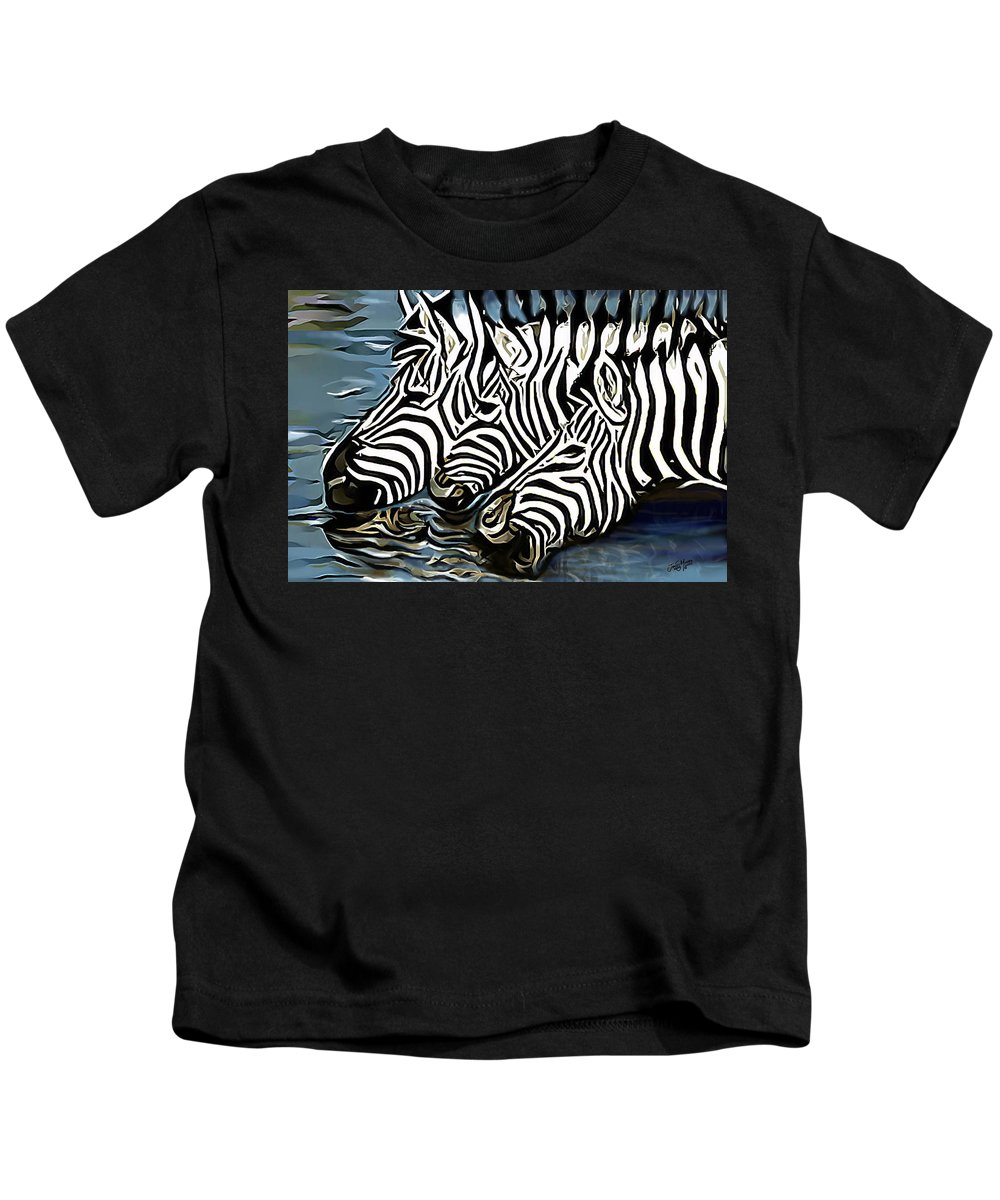 Zebra Kids T-Shirt featuring the painting Quenching That Thirst by James Mingo