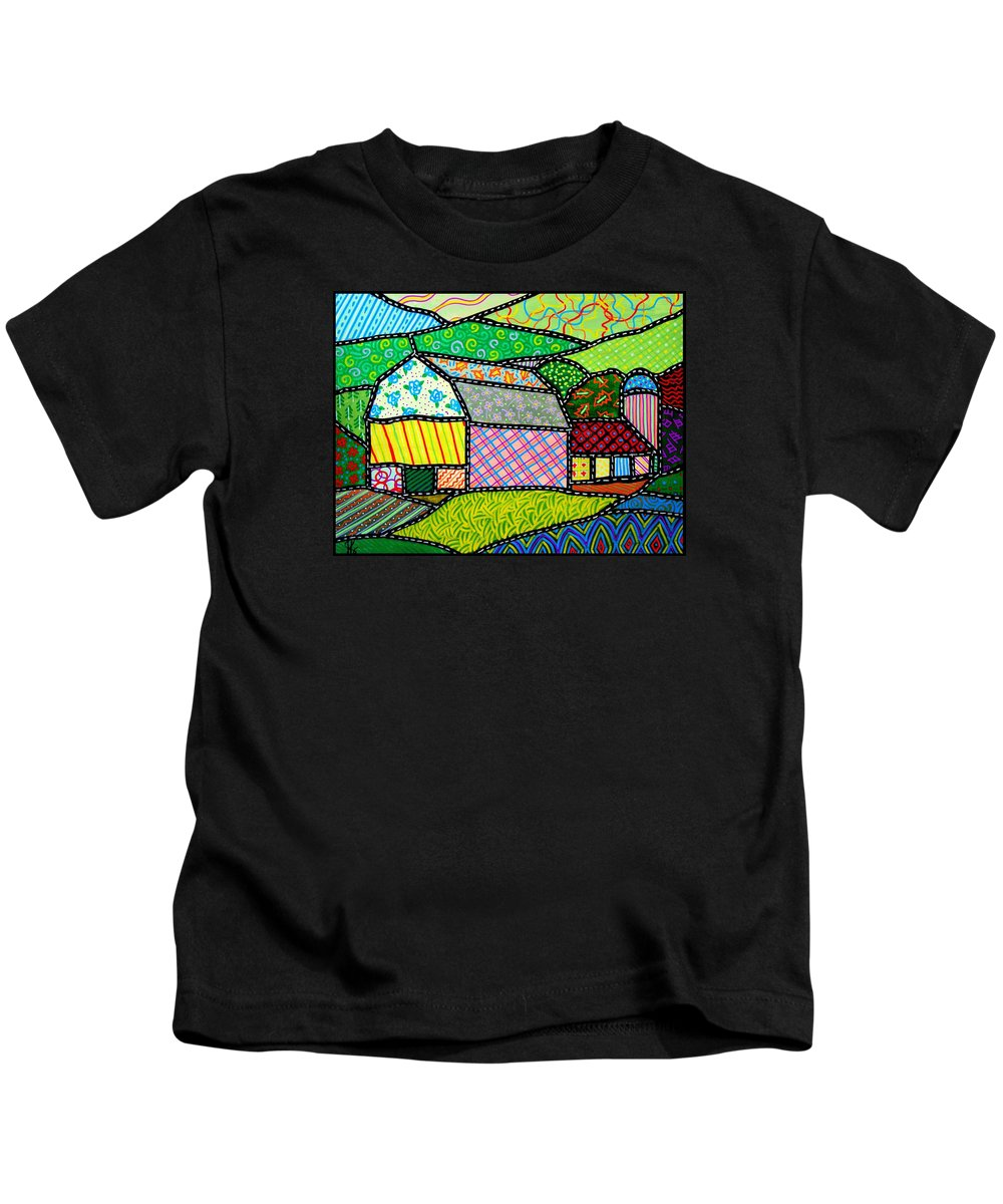 Barn Kids T-Shirt featuring the painting Quilted Bath County Barn by Jim Harris