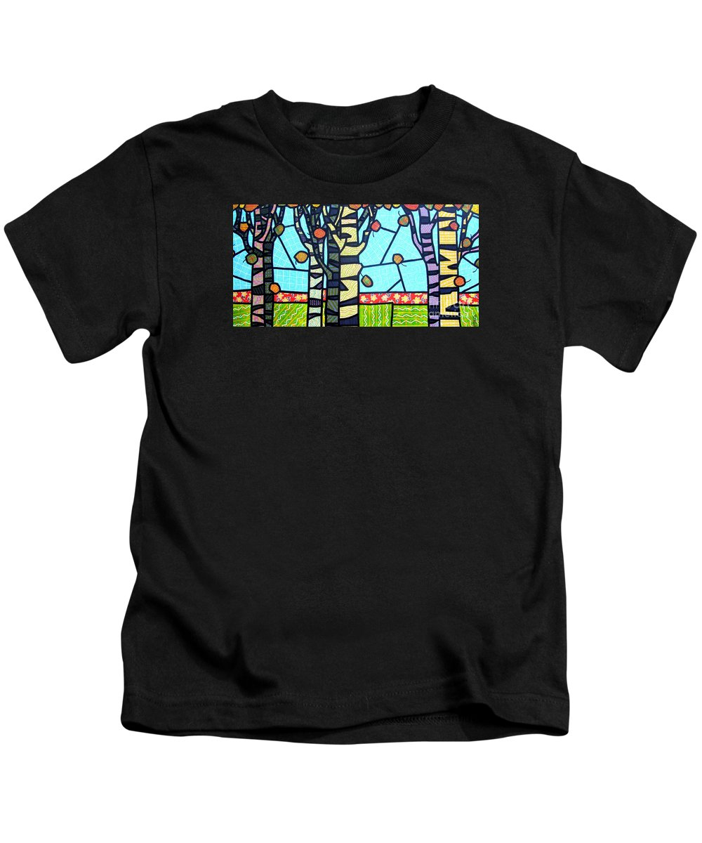 Birch Trees Kids T-Shirt featuring the painting Quilted Birch Garden by Jim Harris
