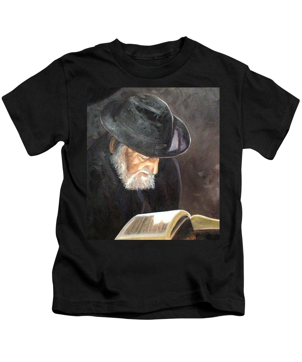 Portrait Kids T-Shirt featuring the painting Rabbi by Toni Berry