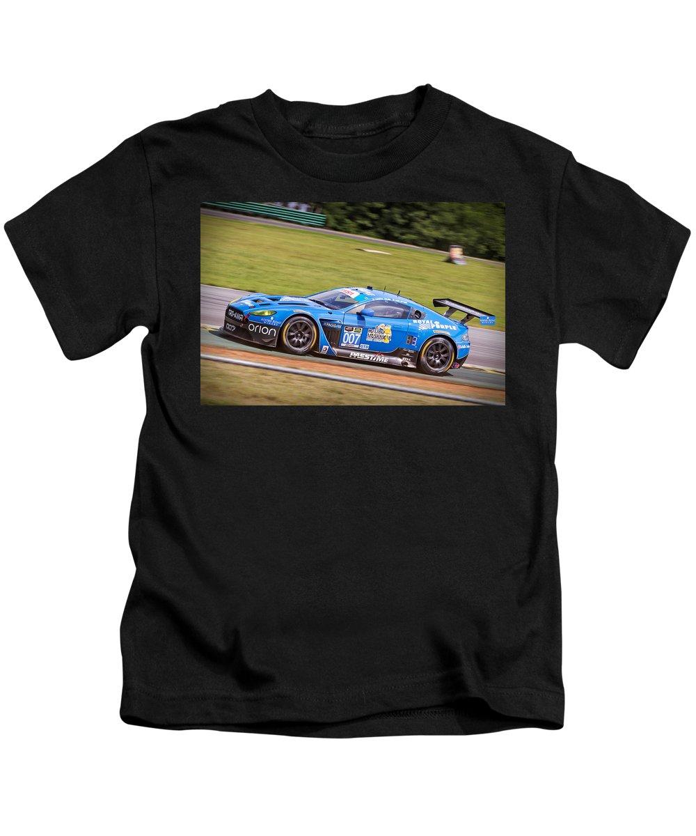 Aston Martin Kids T-Shirt featuring the photograph Race Vantage by Alan Raasch