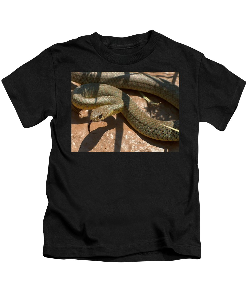 Green Racer Kids T-Shirt featuring the photograph Racer On The Rio Grande by Tim McCarthy