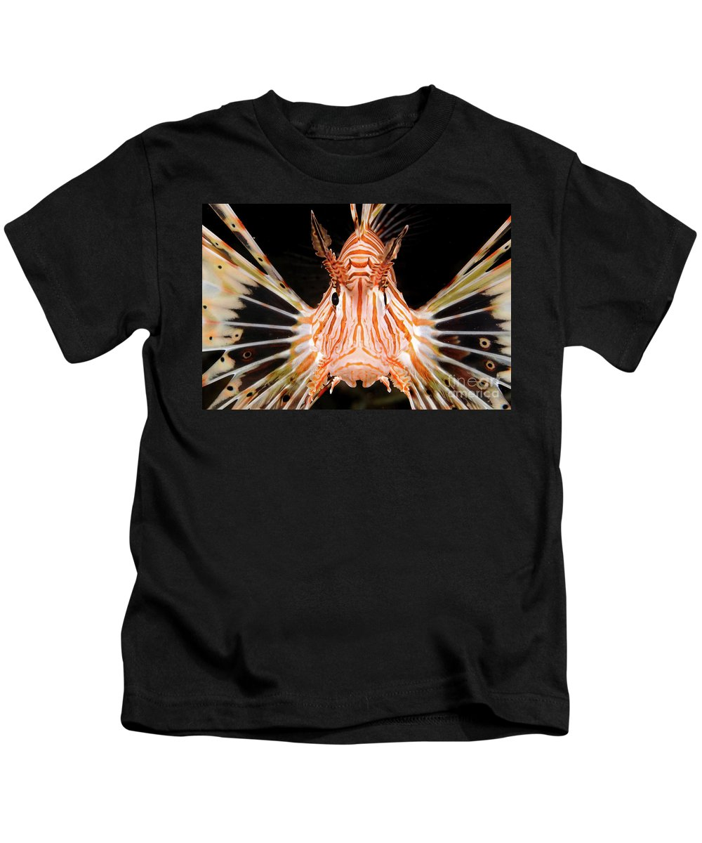 Radial Kids T-Shirt featuring the photograph radial Lionfish Pterois radiata by Hagai Nativ