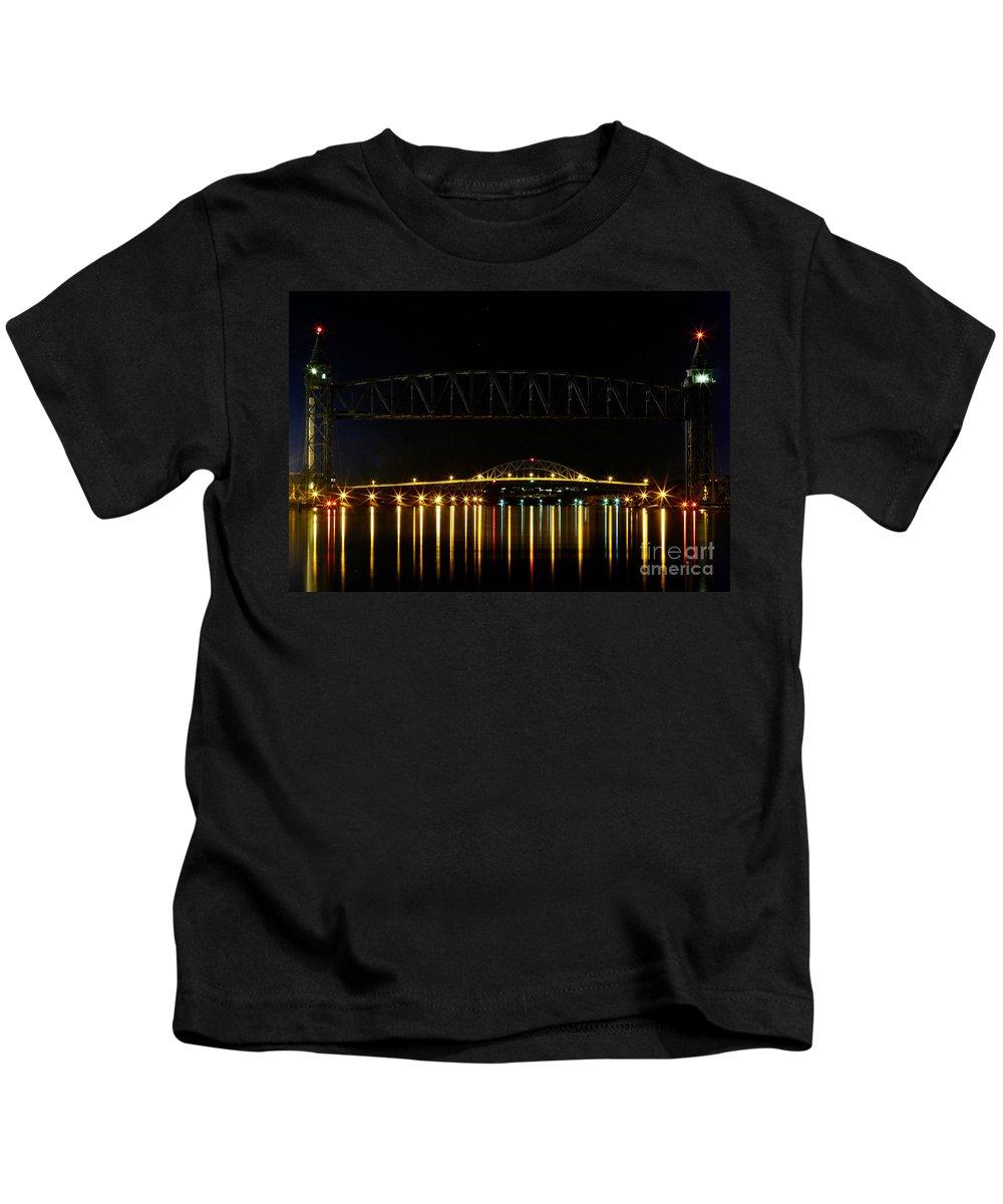 Railroad Bridge Kids T-Shirt featuring the photograph Railroad And Bourne Bridge At Night Cape Cod by Matt Suess