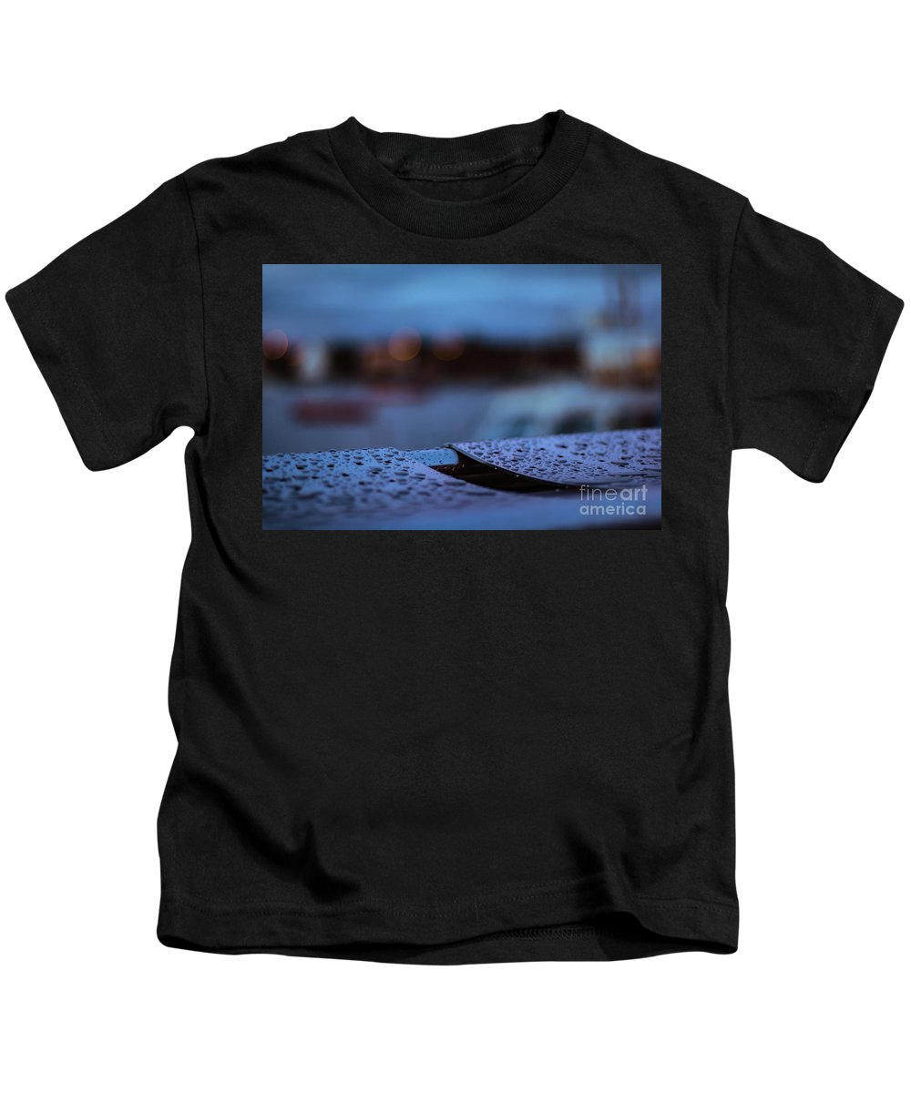 Water Kids T-Shirt featuring the photograph Rain Droplets On Bench by Marc Daly