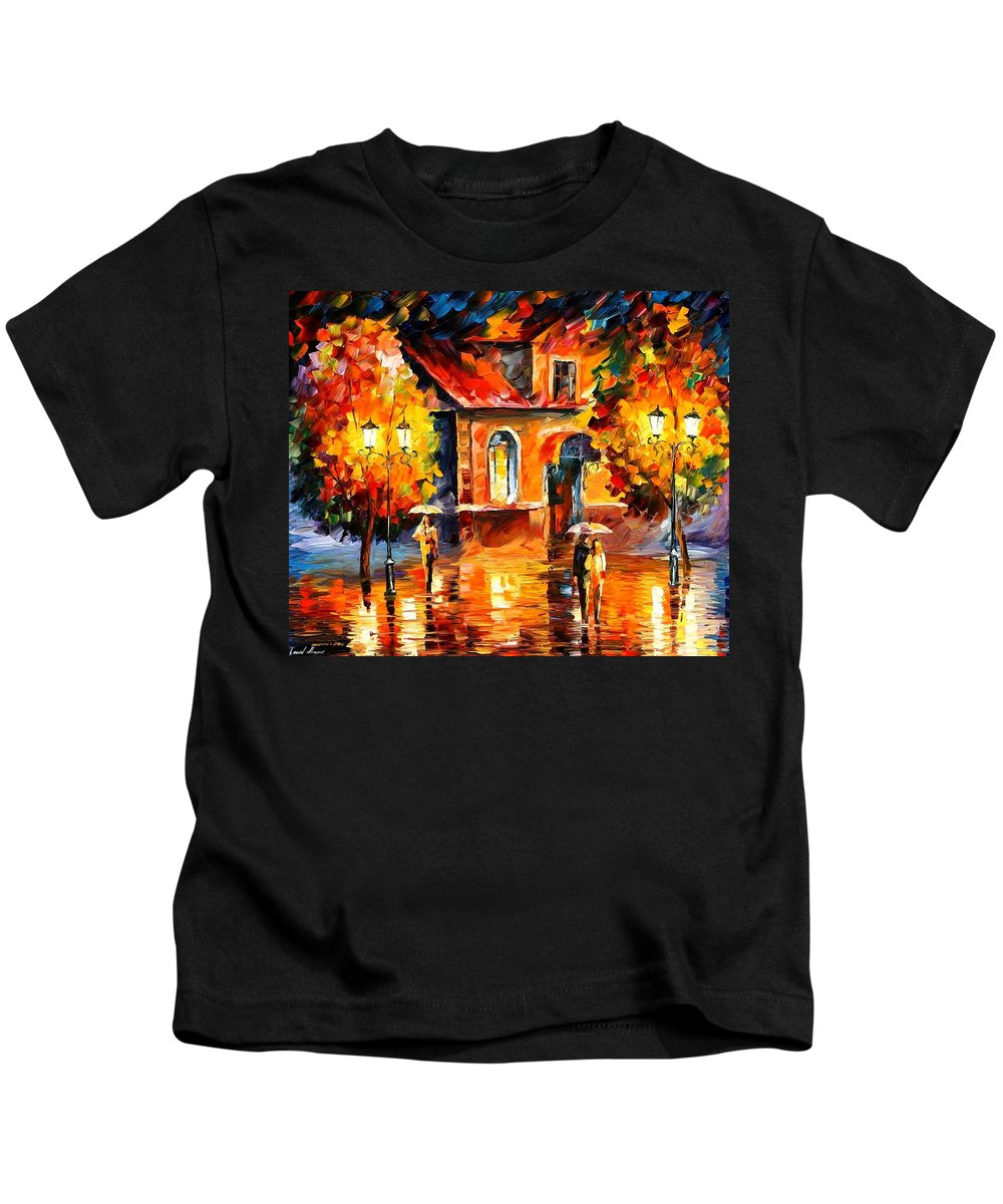 Afremov Kids T-Shirt featuring the painting Rain Impression by Leonid Afremov
