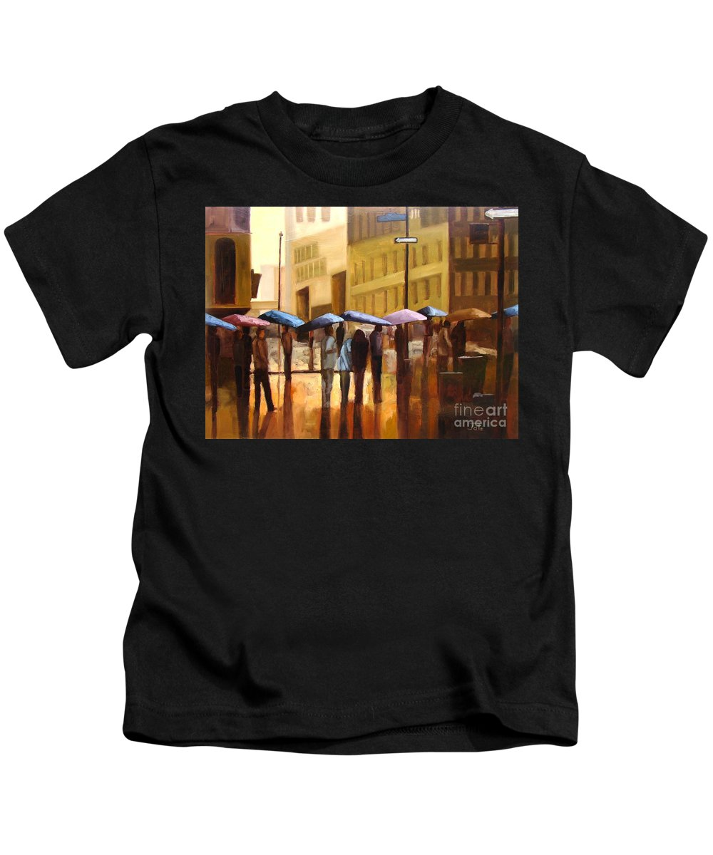 Cityscape Kids T-Shirt featuring the painting Rain in Manhattan number seventeen by Tate Hamilton