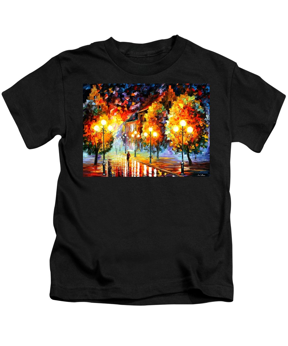 Afremov Kids T-Shirt featuring the painting Rain In The Night City by Leonid Afremov