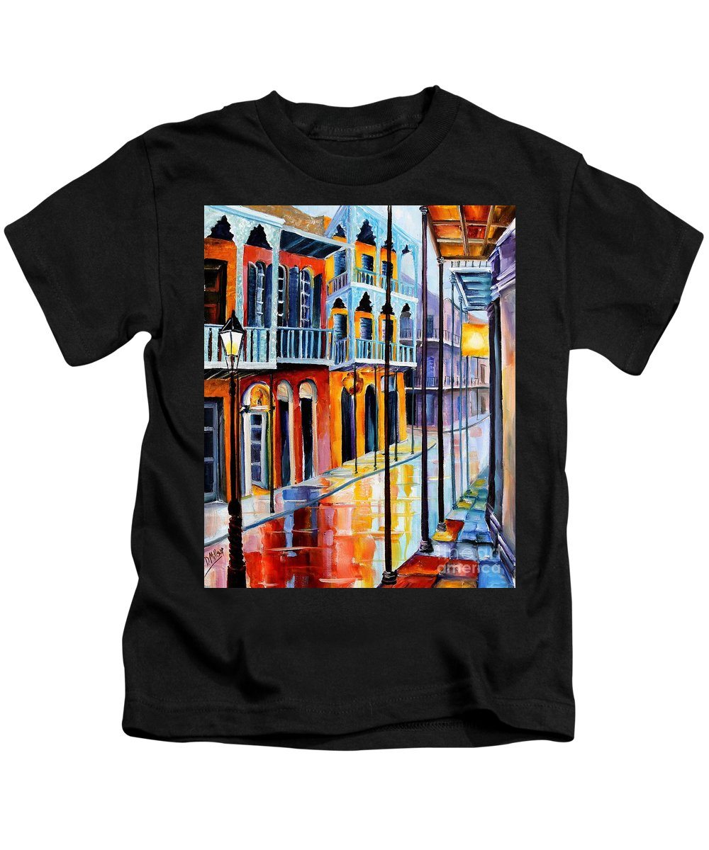 New Orleans Kids T-Shirt featuring the painting Rain On Royal Street by Diane Millsap