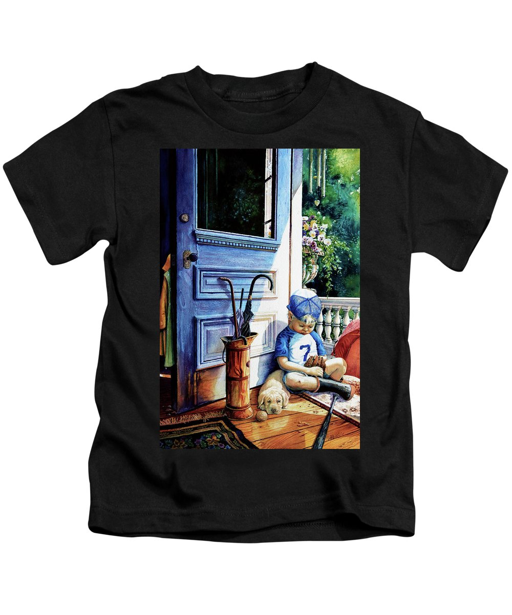 Child Baseball Kids T-Shirt featuring the painting Rain Rain Go Away by Hanne Lore Koehler
