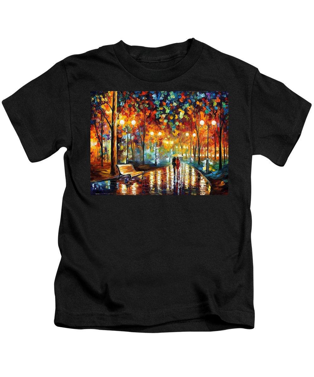 Afremov Kids T-Shirt featuring the painting Rain Rustle by Leonid Afremov