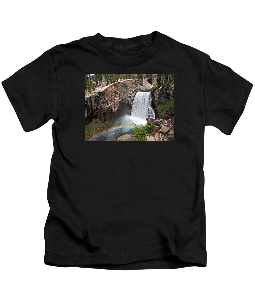 Devil's Postpile National Monument Kids T-Shirt featuring the photograph Rainbow Falls by David Salter