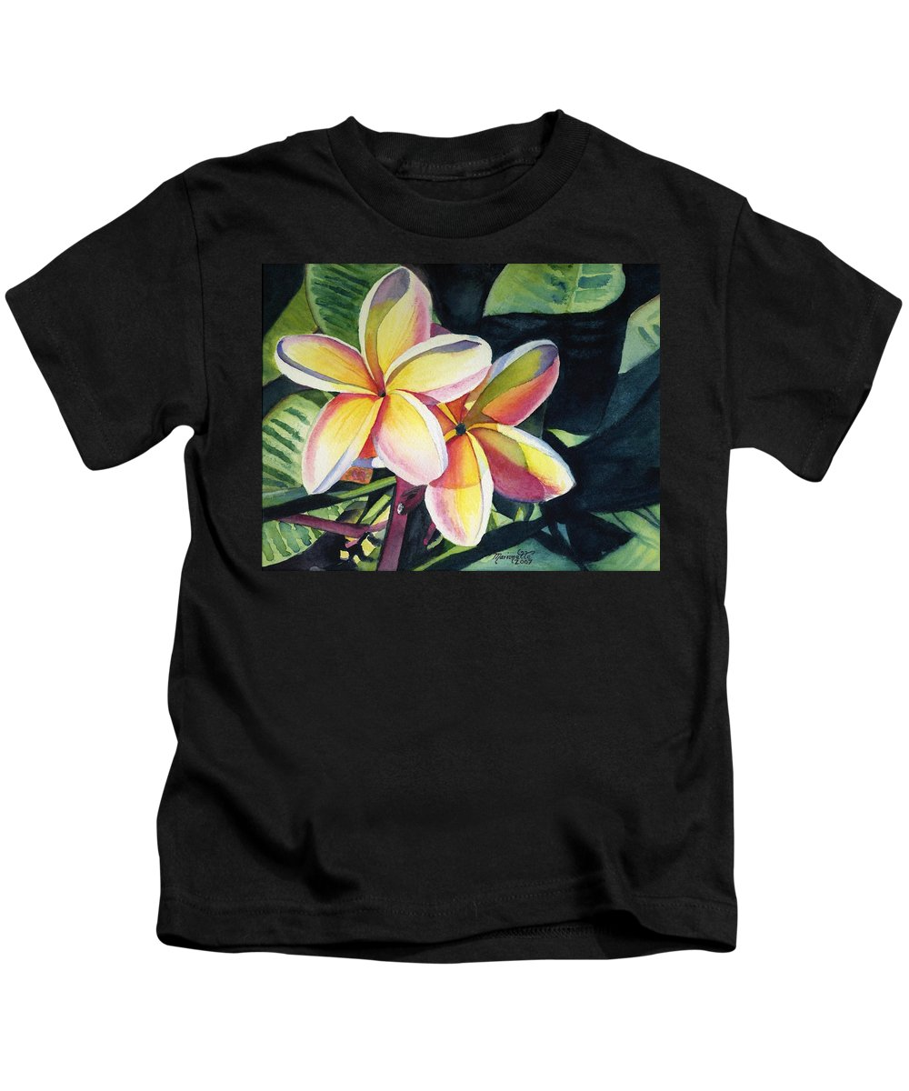 Rainbow Kids T-Shirt featuring the painting Rainbow Plumeria by Marionette Taboniar