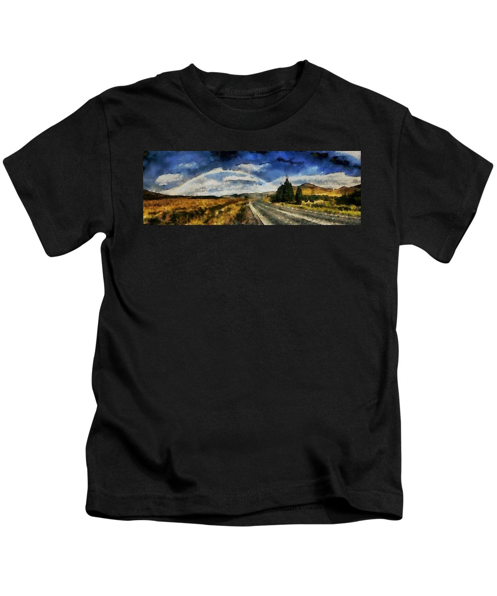 Roadway Kids T-Shirt featuring the painting Rainbow Road - Id 16217-152106-4712 by S Lurk