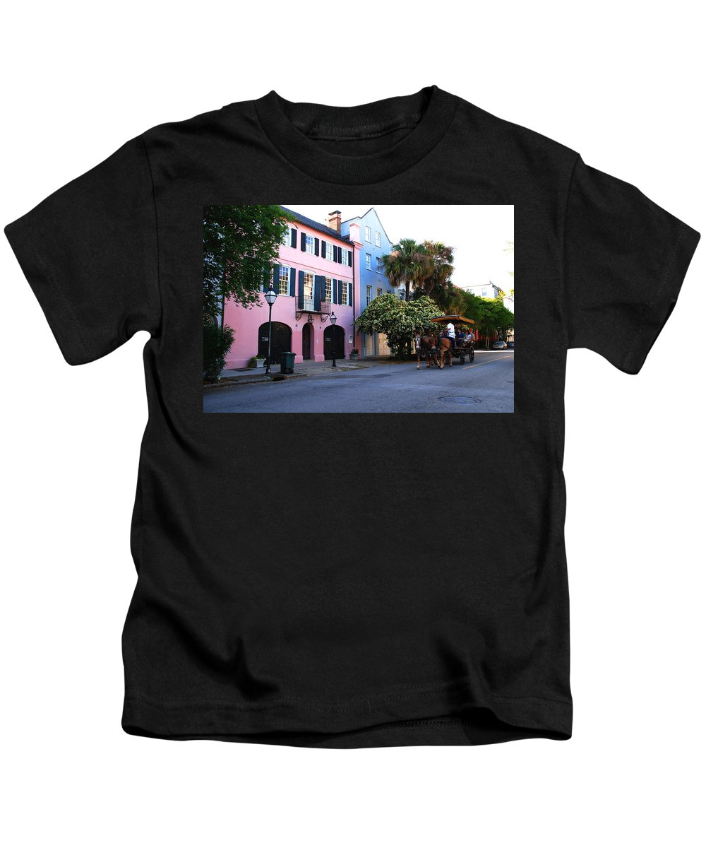 Charleston Kids T-Shirt featuring the photograph Rainbow Row Charleston by Susanne Van Hulst