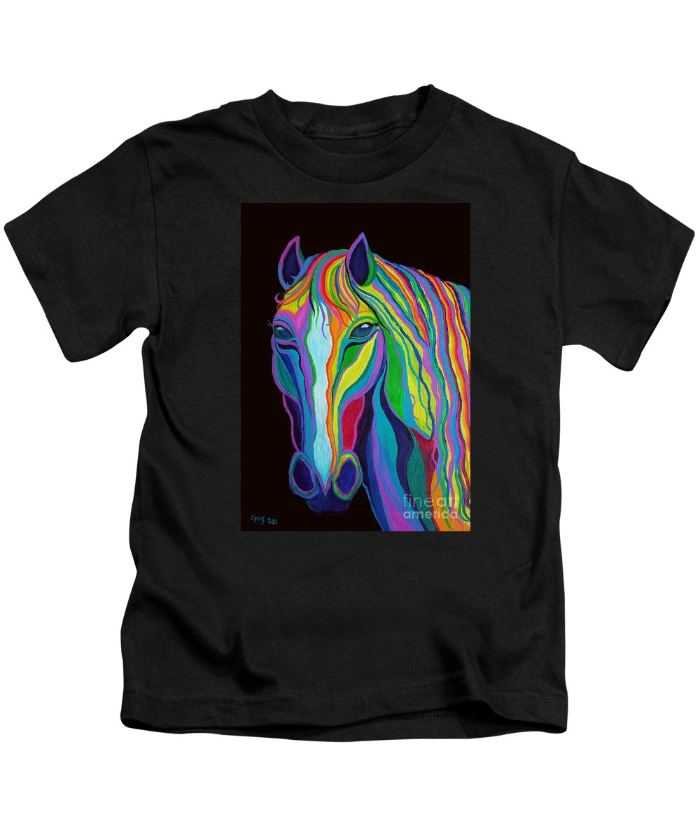 Horse Kids T-Shirt featuring the painting Rainbow Stallion by Nick Gustafson