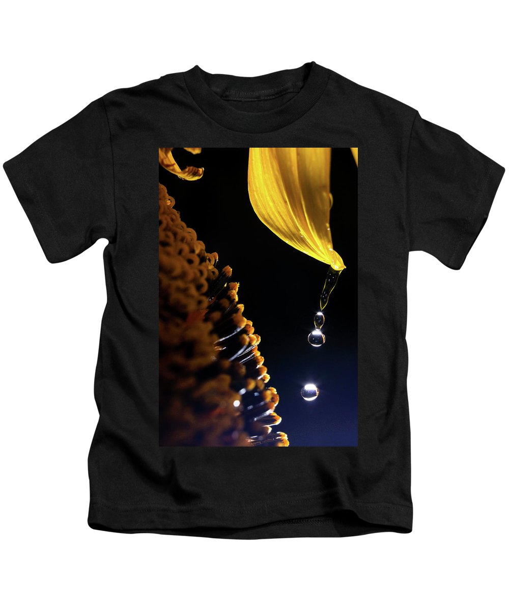 Rain Kids T-Shirt featuring the photograph Raindrops From Sunflower Petal by Cris Ritchie