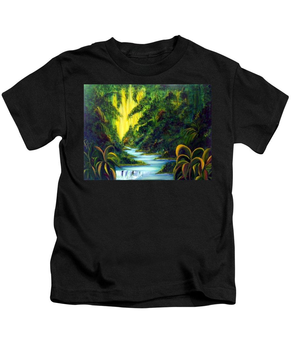 Rainforest Kids T-Shirt featuring the painting Rainforest by Dina Holland