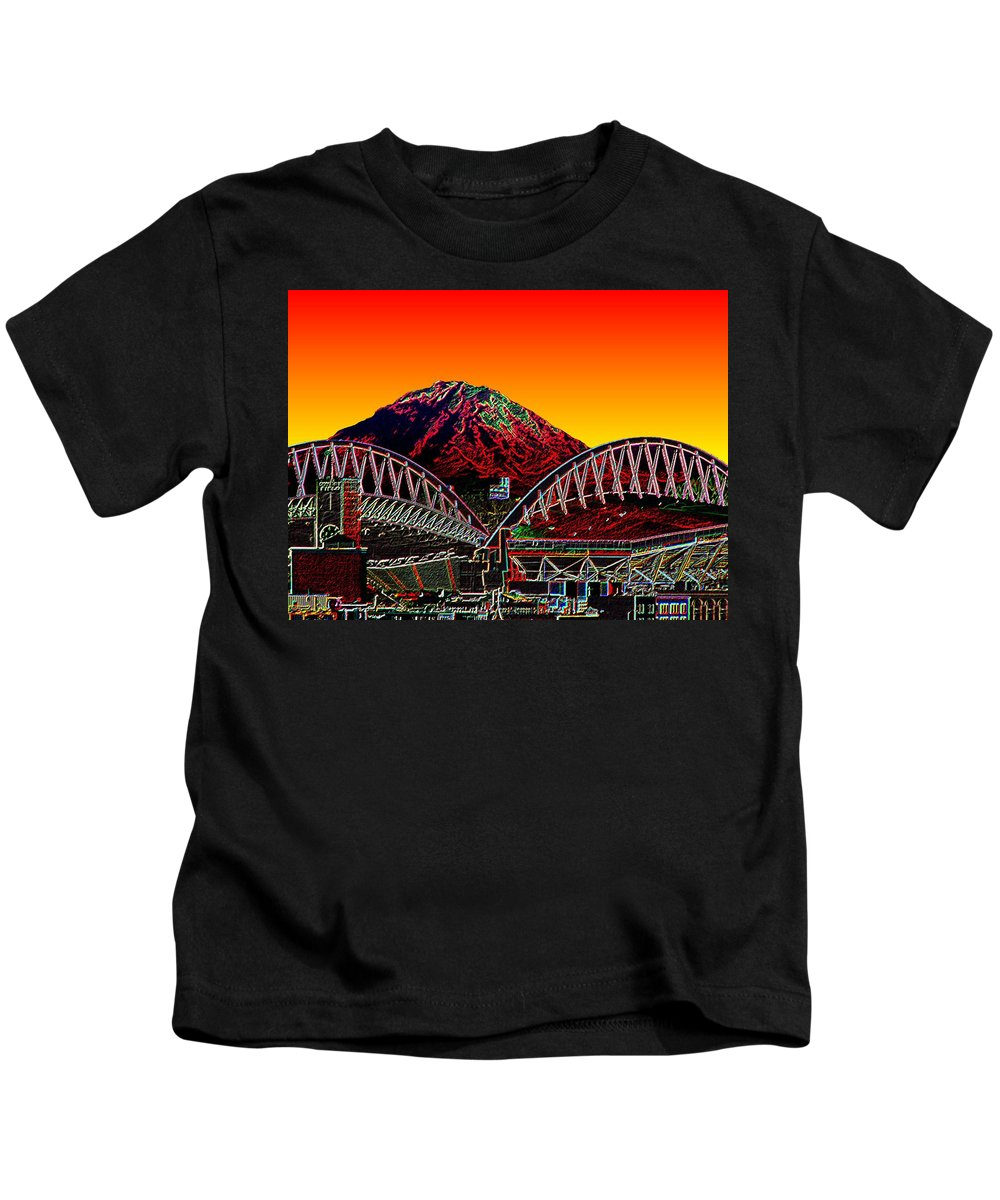 Mount Rainier Kids T-Shirt featuring the photograph Rainier Over Qwest Field by Tim Allen