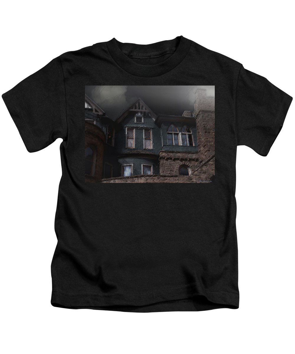 Clouds Kids T-Shirt featuring the painting Rainy Night House by RC DeWinter