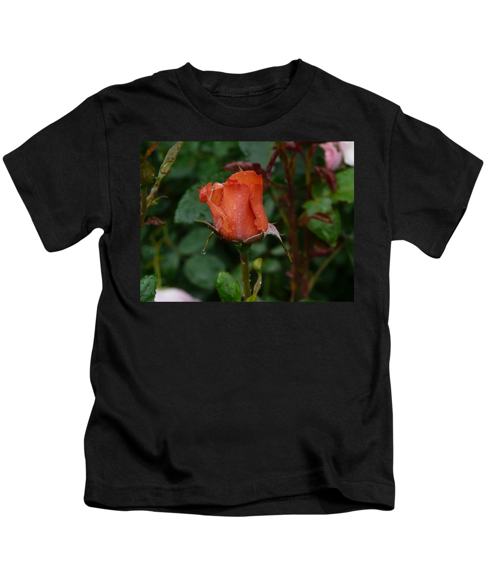 Flower Kids T-Shirt featuring the photograph Rainy Rose Bud by Valerie Ornstein