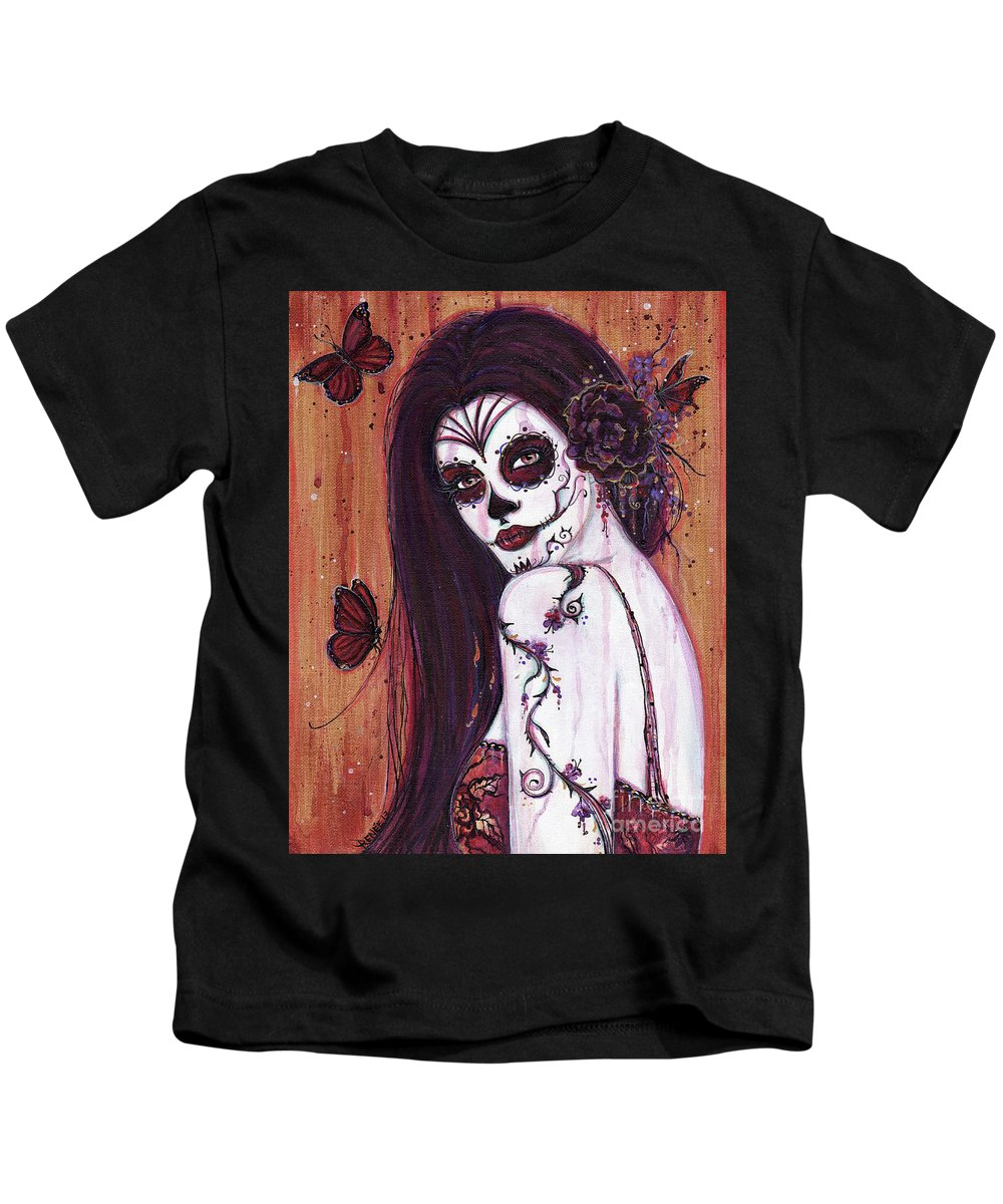 Day Of The Dead Kids T-Shirt featuring the painting Ranita Day Of The Dead by Renee Lavoie