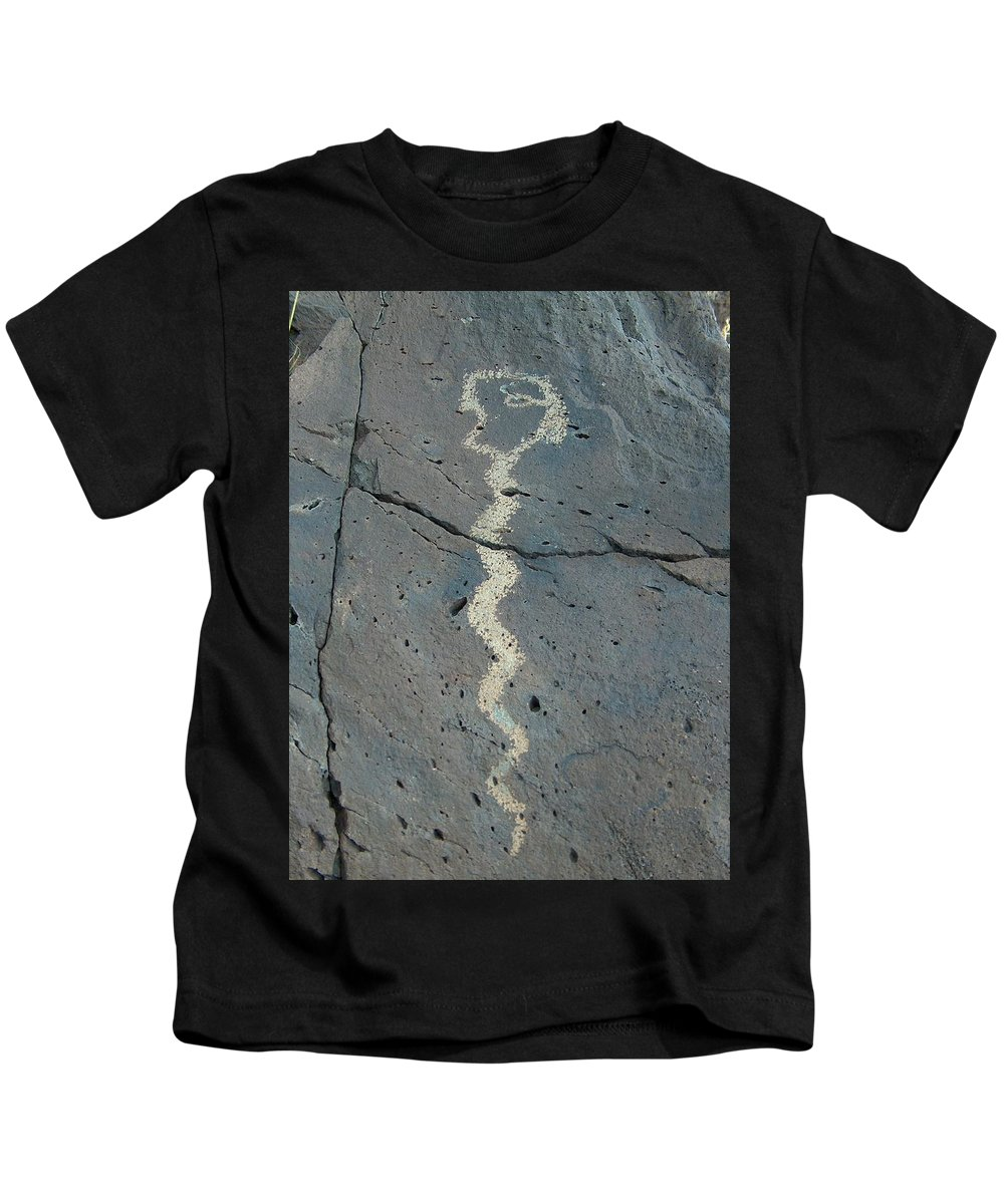 Rattlesnake Kids T-Shirt featuring the photograph Rattlesnake Petroglyph 2 by Tim McCarthy