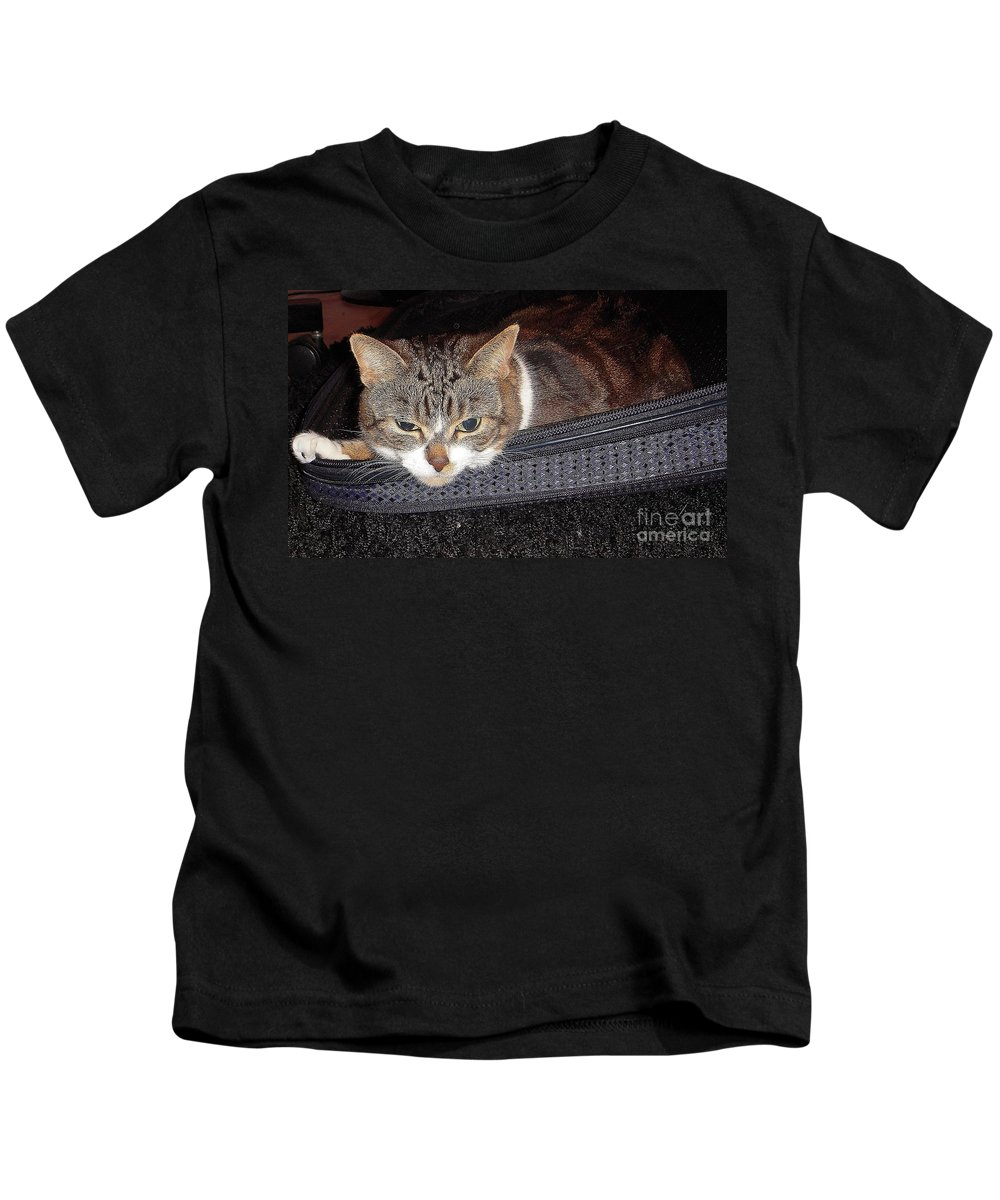 Cat Kids T-Shirt featuring the photograph Ready For A Trip by Vesna Antic